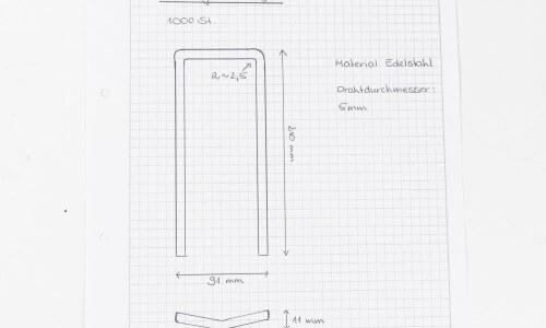 Hinterdobler Fabrikations GmbH | Handskizze zum fertigen Biegeteil